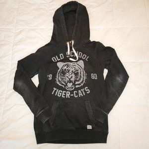 3for15$ tiger gray distressed hoodie sweater small